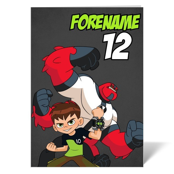 Ben 10 Four Arms Name and Age Birthday Card