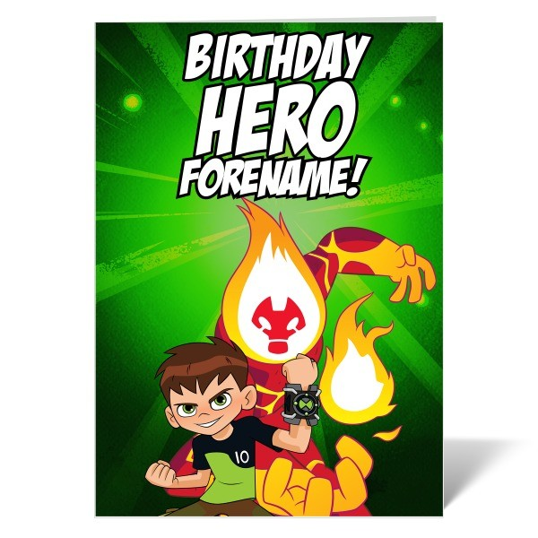 Ben 10 Heatblast Birthday Hero Card