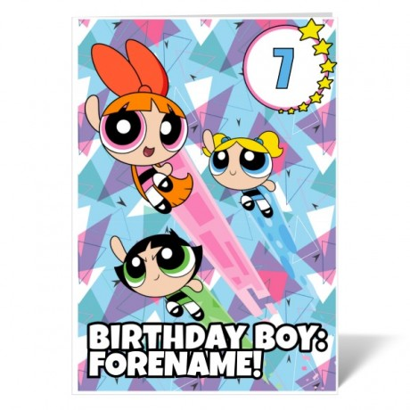 Powerpuff Girls Pattern Number Birthday Boy Card
