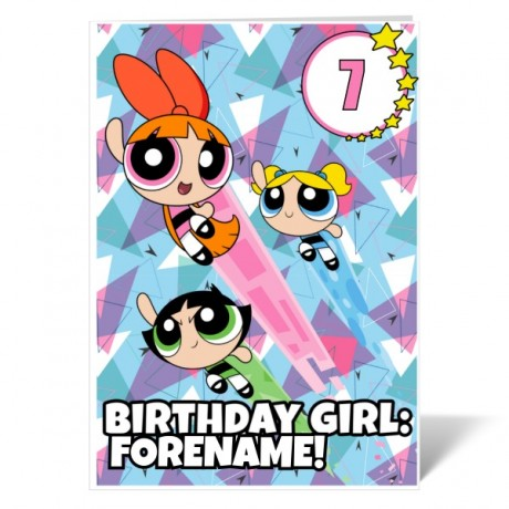 Powerpuff Girls Pattern Number Birthday Girl Card